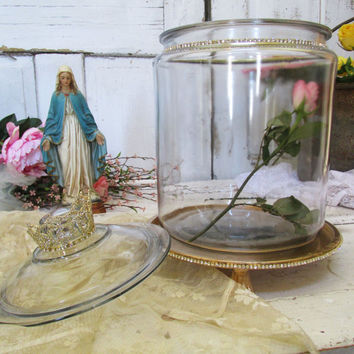 Large glass jar dome display with rhinestone gold base shabby cottage round vintage apothecary style with crowned lid anita spero design