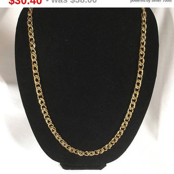 Sidewalk Sale Online Vintage Signed Monet Double Chain Link Necklace - Monet Gold Tone Statement Necklace - Heavy Double Link Chain Neckl...