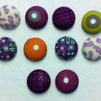 Decorative Libros Fabric Thumbtacks/Push Pins Set of 10