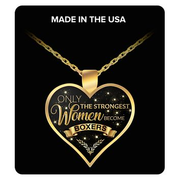 Boxing Necklace for Women - Only the Strongest Women Become Boxers Gold Plated Pendant Charm Necklace Gifts