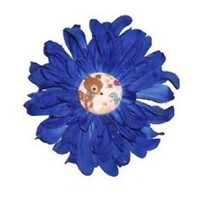 Large Dark Blue Daisy Hair Flower Clip Accessory Whimsical Deer Button Center