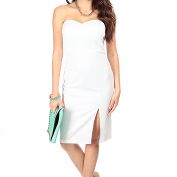 White Front Slit Strapless Midi Dress