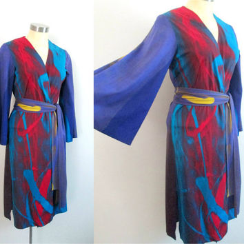 Boho Chic Wrap Duster Coat Dress / 1960s Multicolored Mod Edith Flagg