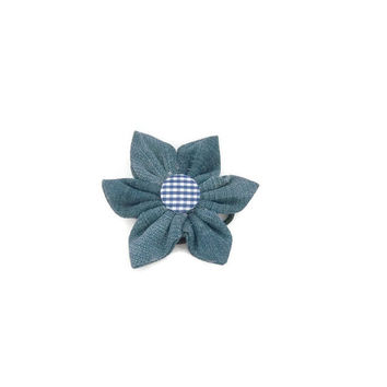 Denim Daisy Hair Tie | flower hairband | hair accessories | spring accessories | flower hair piece | daisy hair piece | flower hair tie