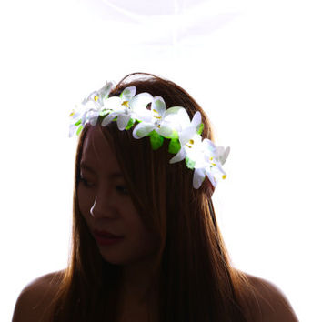 White LED Flower Crown Headband,Light Up Flower Halo,Rave,Coachella,Electric Forest,EDC,Light Up Flower Crown,Light up Headband,Costume