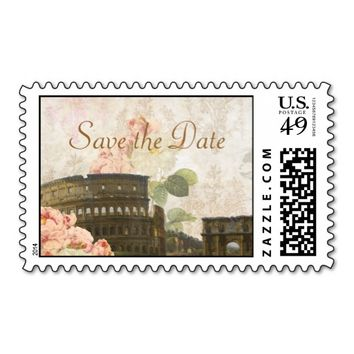 Ancient Rome Pink Rose Vintage Save the Date Stamp