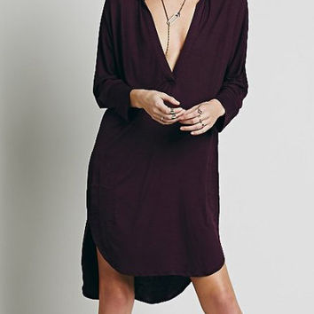 Red Aubergine Deep V Neck Long Sleeve Midi Shift Dress