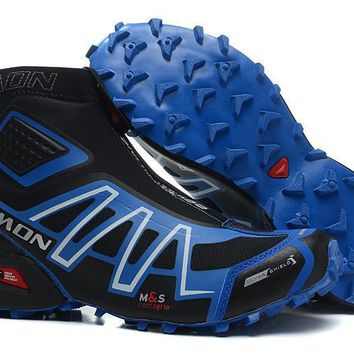 Salomon Snowcross CS Mens Black Blue Water Resistant Running Sports Shoes Pumps