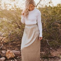 Deets In the Pleats Maxi Skirt - Gold