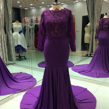 Long Sleeve Mermaid Purple Chiffon Prom Dresses 2017 New Custom Appliques Robe de soiree Evening Party Dress