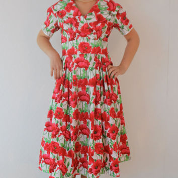 Retro dress, 1950's swing dress, Rockabilly vintage style poppy print dress, rock and roll  1950's dress
