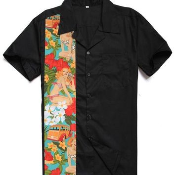 Family Friends party Board game Candow Look Men Fashion Casual Designs Cotton Car Hawaii Print Plus Size Tops Vintage Club Rockabilly Retro Panel Black Shirts AT_41_3