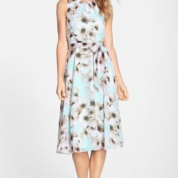 Women's Eliza J Floral Print Chiffon Fit & Flare Dress