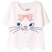 JOLLYCHIC Women's Crew Neck Short Sleeve Cat Print Cute Cotton Tee