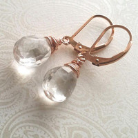 Rose Gold and Crystal Quartz Wire Wrapped Lever Back Earrings--14k Rose Gold Filled