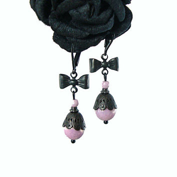 Pastel Goth Earrings - Black Patina Lilac Victorian Filigree - Gothic Lolita Jewelry - Light Pastel Purple Lavender Black Brass Bow Earrings
