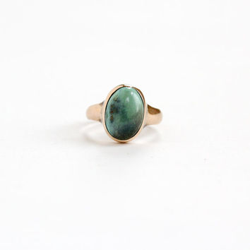 "Antique 10k Rose Gold Dated ""1920"" Turquoise Blue Stone Ring - Vintage Art Deco 1920s Green Bezel Set Stone Fine Natural Minimalist Jewelry"