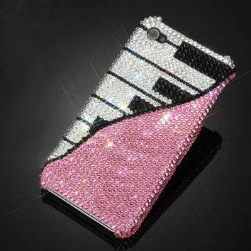 iPhone 4, 4s, 5, 5s case made w Swarovski Crystal Elements. Piano Music small 9ss crystals