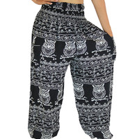 Black owl Boho pants Yoga clothing harem trousers comfy Gypsy pant strenchy drop crotch pants one size fits all elastic waist ankle woman