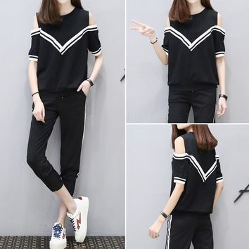 Women Casual Fashion Multicolor Stripe Bare Shoulder Short Sleeve Trousers Set Two-Piece Sportswear