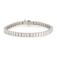 Platinum Princess-Cut Diamond Line Bracelet