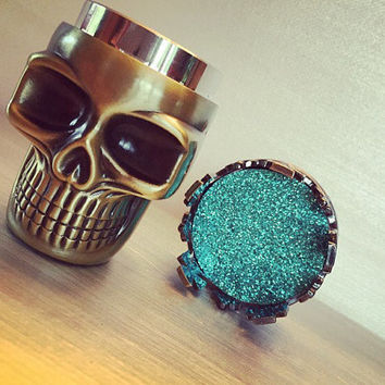 Herb Metal Crown King Skull Grinder - Custom Weed & Herb Grinder - Tabacoo Grinder - Smoke Friendly Custom Turquoise Grinder
