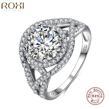 ROXI Brand 925 Sterling Silver Created White Crystal Wrap Stackable Ring Engagement Wedding Eye Extreme Luxury Rings For Women