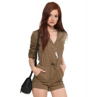 Brown V-neck Rolled-up Sleeve Romper
