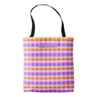 Personalized Vintage Plaid Tote Bag