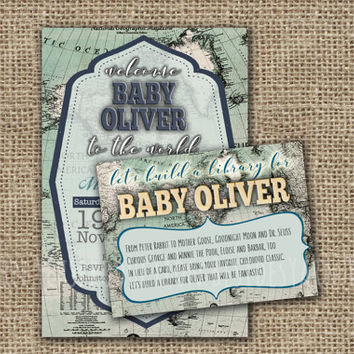 CUSTOMIZED Bring a Book Instead of a Card Baby Shower Insert, Welcome to the World Printable with Vintage World Map, Antique Baby Shower DIY