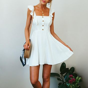Sexy ruffle white women dress Summer Backless sleeveless button camis short dresses Vintage party fashion dress festa 2019