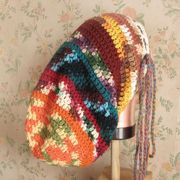 Large Crochet Rasta Tam for Long Dreads Dreadlocks Sock Hat Earth Tones and Jewel Tones