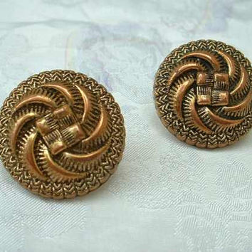 Art Nouveau Style Post Earrings Copper Colored Acrylic Vintage Jewelry