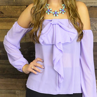 Finley Open Shouder Bell Sleeve Bow Top Lilac