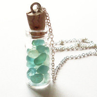 Seafoam Seaglass Necklace - Blue Green Sea Glass - Mermaid Tears Bottle - Mint Sea Foam - Cute - Adorable - Whimsical - Whimsy - Dreamy