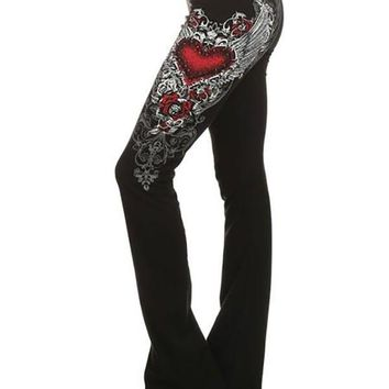 New Black Red Heart Print White Angel Wing Printed Bell Bottom Plus Size Fashion Long Pants