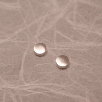 3mm Matte brushed silver earrings Small round studs in sterling silver Modern jewelry by SARANTOS