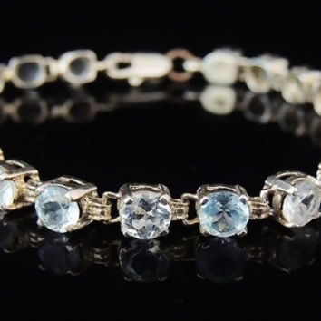 BLUE and WHITE TOPAZ Tennis Bracelet in Sterling over 10 cts !!