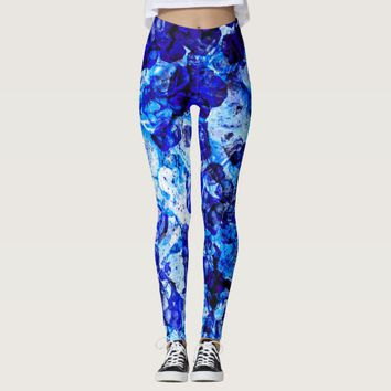 Cute abstract blue lighting glass leggings