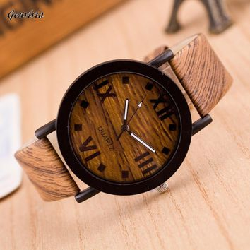 Roman Numeral Wood Leather Band  Wrist Watches