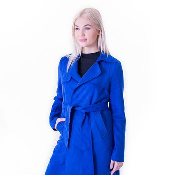 Faux Suede Short Trench - Royal Blue