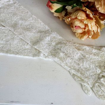 Vintage 1990s White Lace Gloves, Above The Elbow Length