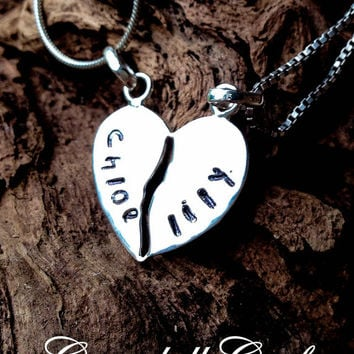 Hand Stamped BEST FRIENDS love heart necklace, sterling silver Personalised Jewellery Hand Stamped Name Necklaces Pendants Gift Australia