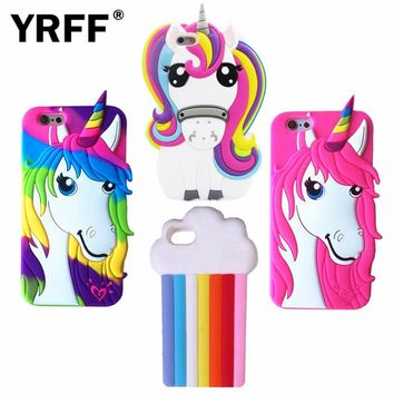 3D Rainbow The Unicorn Littlt Horse Head Phone case for apple Iphone 7 7plus 5.5 Silicon Soft phone cases cover for iphone 7