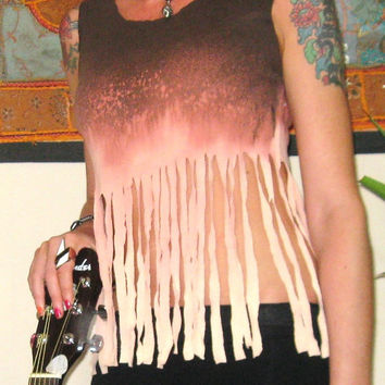 Fringe Vest Ombre Bleach Dye Top Brown Size 8
