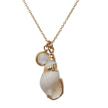 Seashell + Clear Crystal Necklace