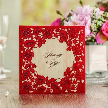 (10 pieces/lot) Hollow Out Lace Wedding Invitations Red Gold White Universal Invitation Card With Envelope For Party CW5280