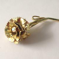 Vintage Rose Pin,  Faux Diamond Rose, Retro Rose Pin, Vintage Rose Brooch, Rose Pin