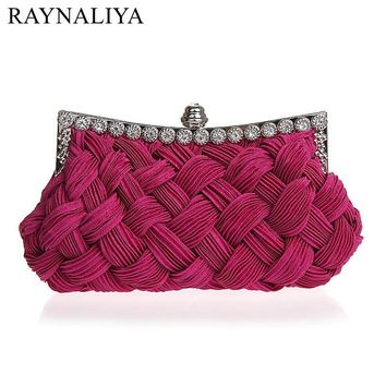 Woven Evening Bag Clutch Handbag Ladies Cross Weaving Clutch Bags Flower Diamond Party Branquet Purse 10 Colors SMYSFX-F0223