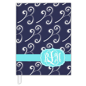 Custom Personalized Girls Journal Womens Diary Name Monogram Navy Aqua Any Color Dandelion Swirls Creative Writing Back to School